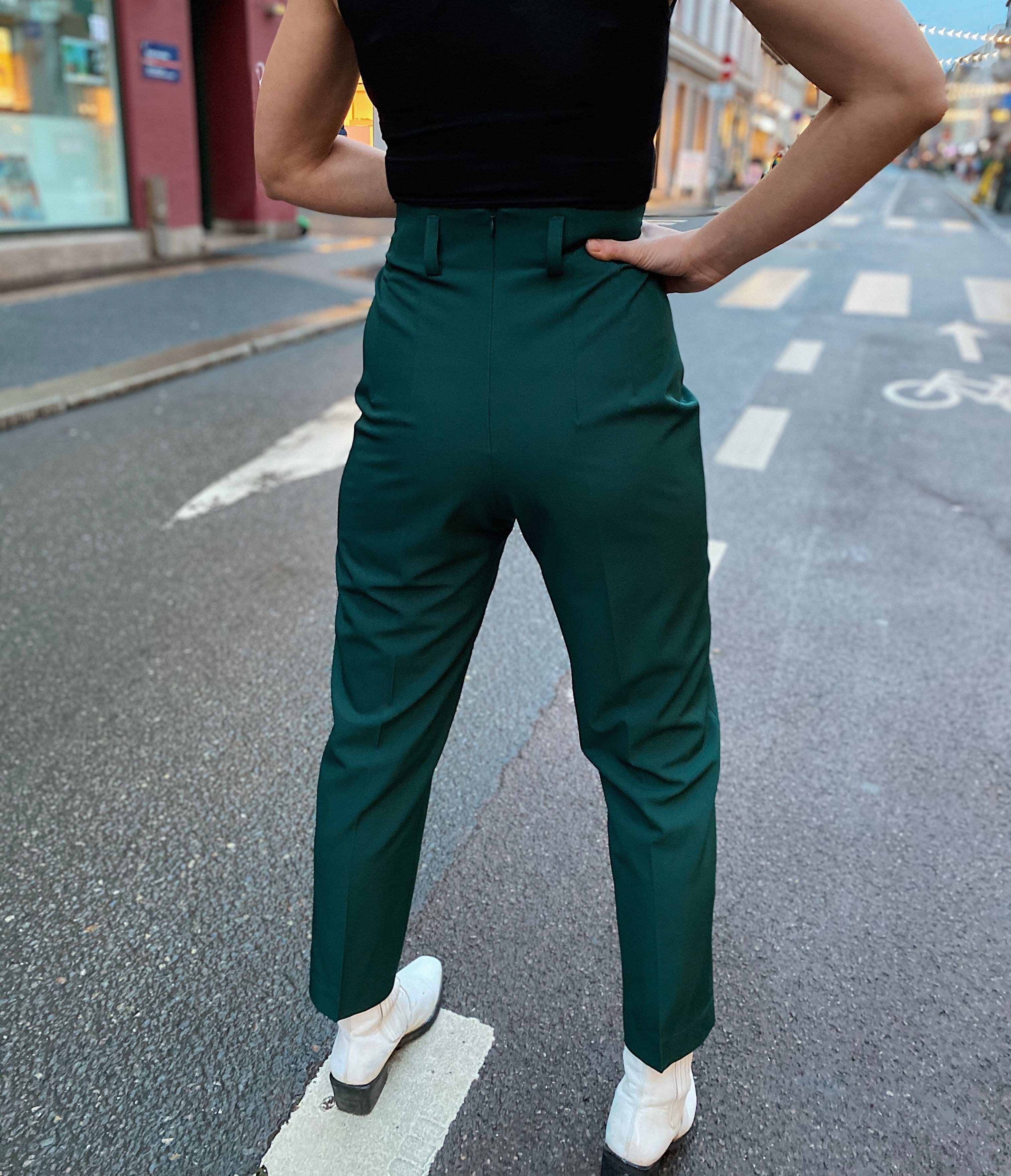 Dianas Vintage bukser So Very High Waisted Trousers - dark green