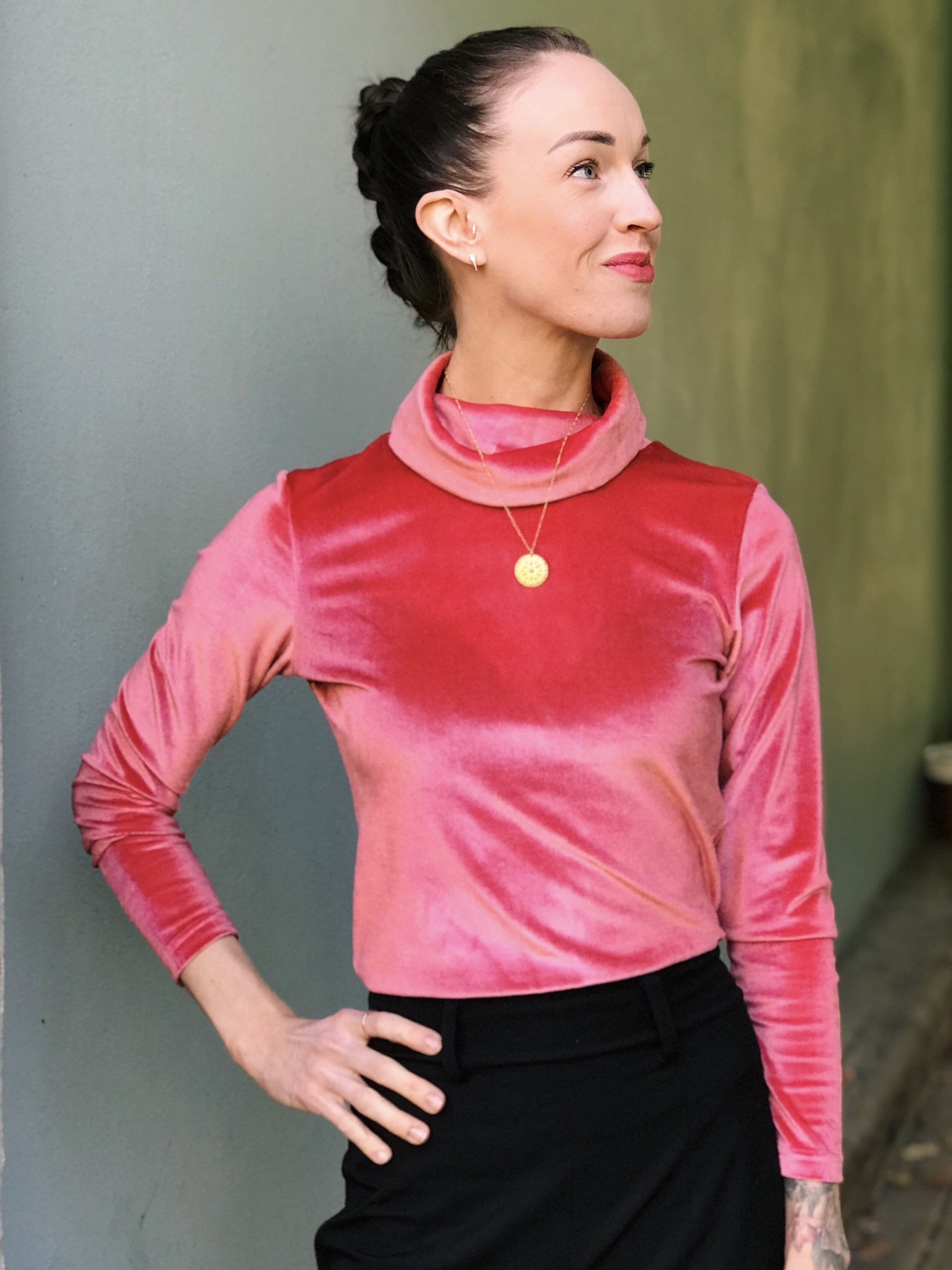 Frida Top velvet - salmon