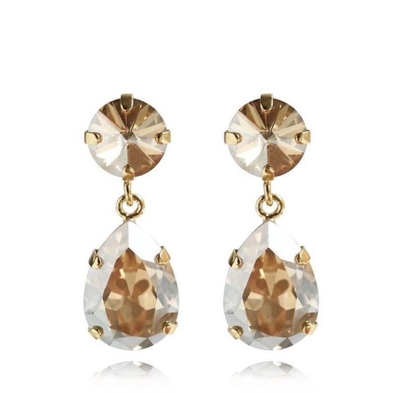 Caroline Svedbom øredobber Mini Drop earrings - golden shadow