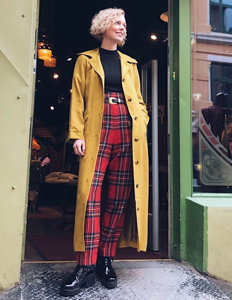 So Very High Waisted Trousers - tartan