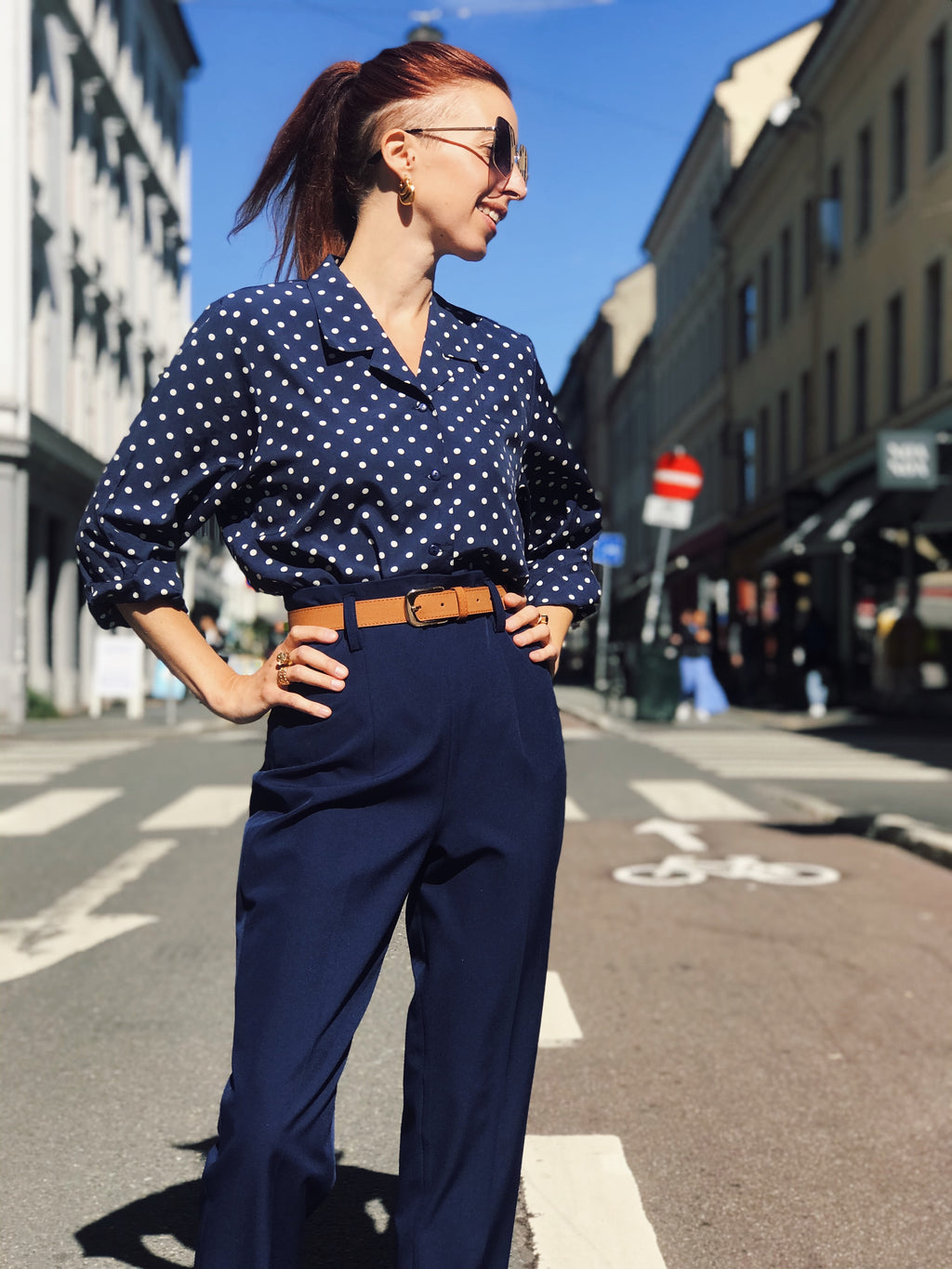 So Very High Waisted Trousers - navy