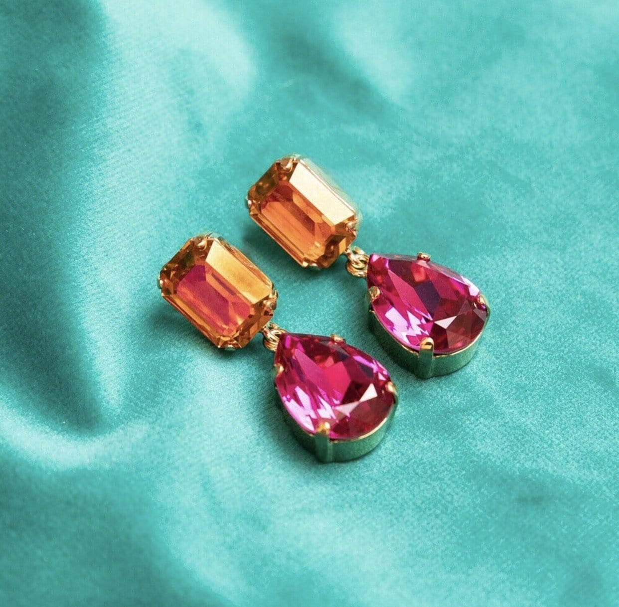 Lydia earrings - tangerine/fuchsia