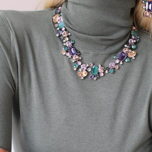 Noora necklace - purple and green combo