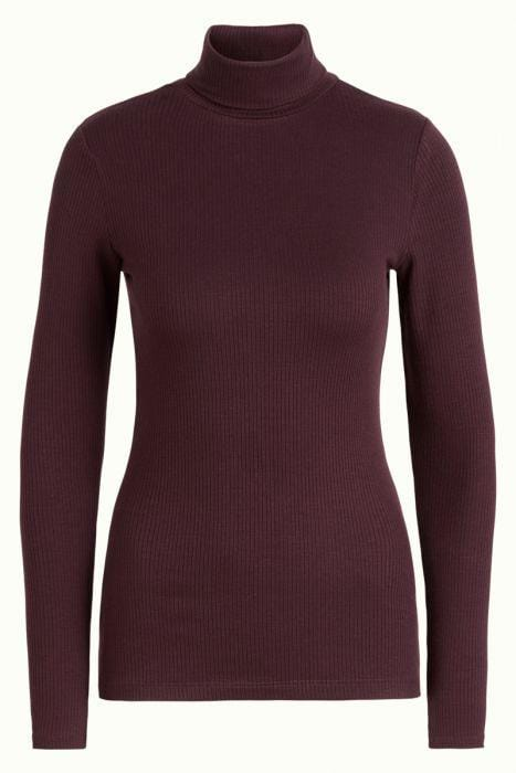 King Louie gensere Rollneck rib tencel - vinrød
