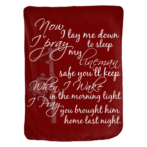 Linewife's Prayer 60x80 Velveteen Blanket - Linemen Rock - Lineman Shirts