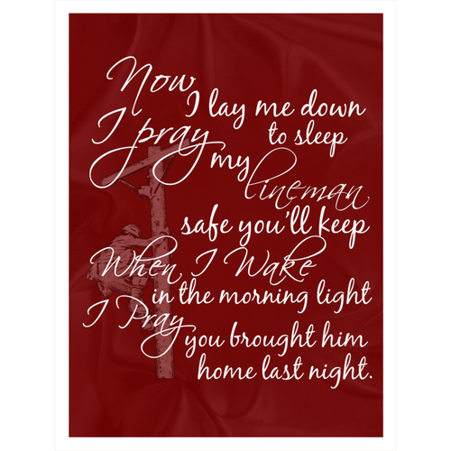 Linewife's Prayer 60x80 Fleece Sherpa Blankets - Linemen Rock - Lineman Shirts