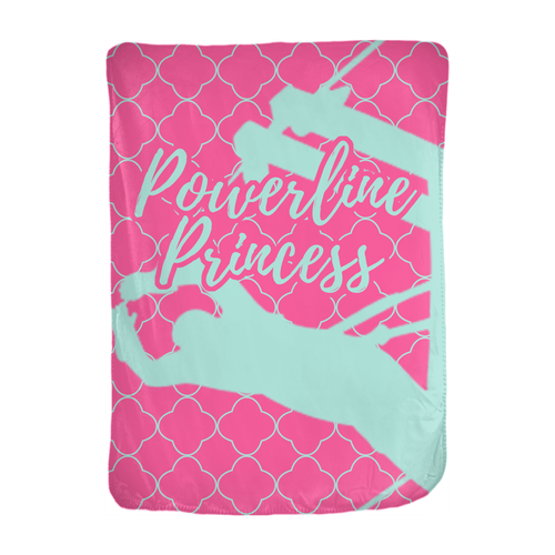 Powerline Princess 30x40 Velveteen Blanket - Linemen Rock - Lineman Shirts