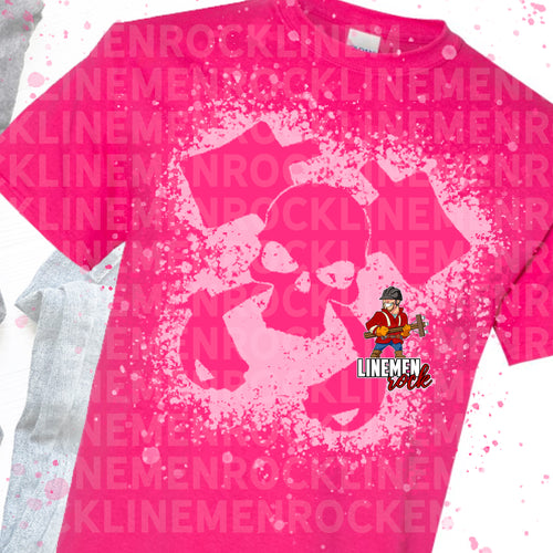 Pink Out Bleach Skull Breast Cancer Lineman Tee
