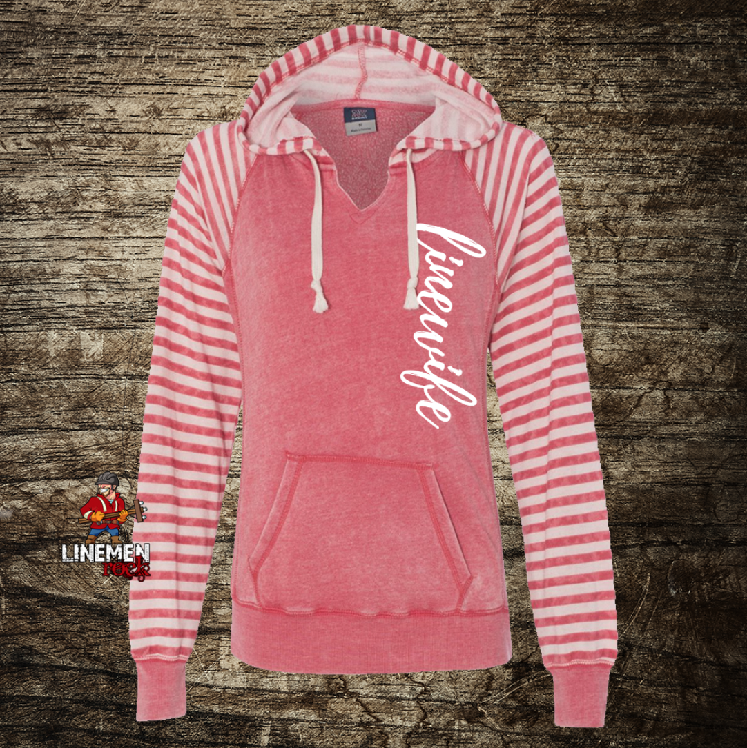 LInewife Striped Hoodie - Linemen Rock - Lineman Shirts