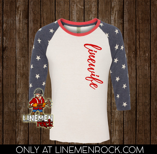 Americana Wideneck - Linewife - Linemen Rock - Lineman Shirts