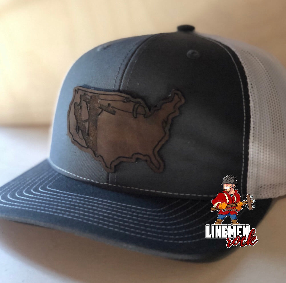 American Lineman SnapBack Hat in Charcoal/White - Linemen Rock - Lineman Shirts