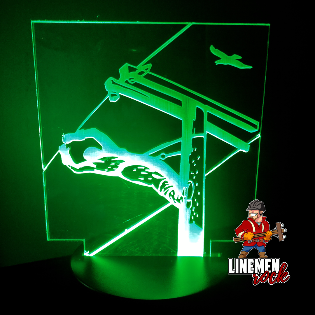 Reaching Lineman Square Acrylic LED Lamp