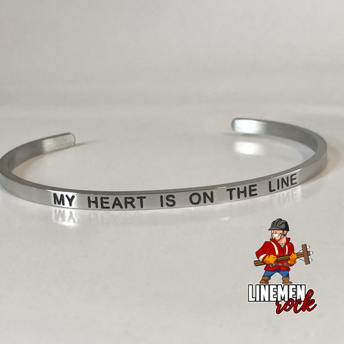 My Heart is On the Line Stainless Steel Bangle Bracelet