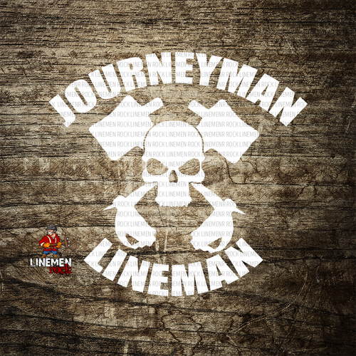 Journeyman Lineman Crossed Hooks Decal - Linemen Rock - Lineman Shirts