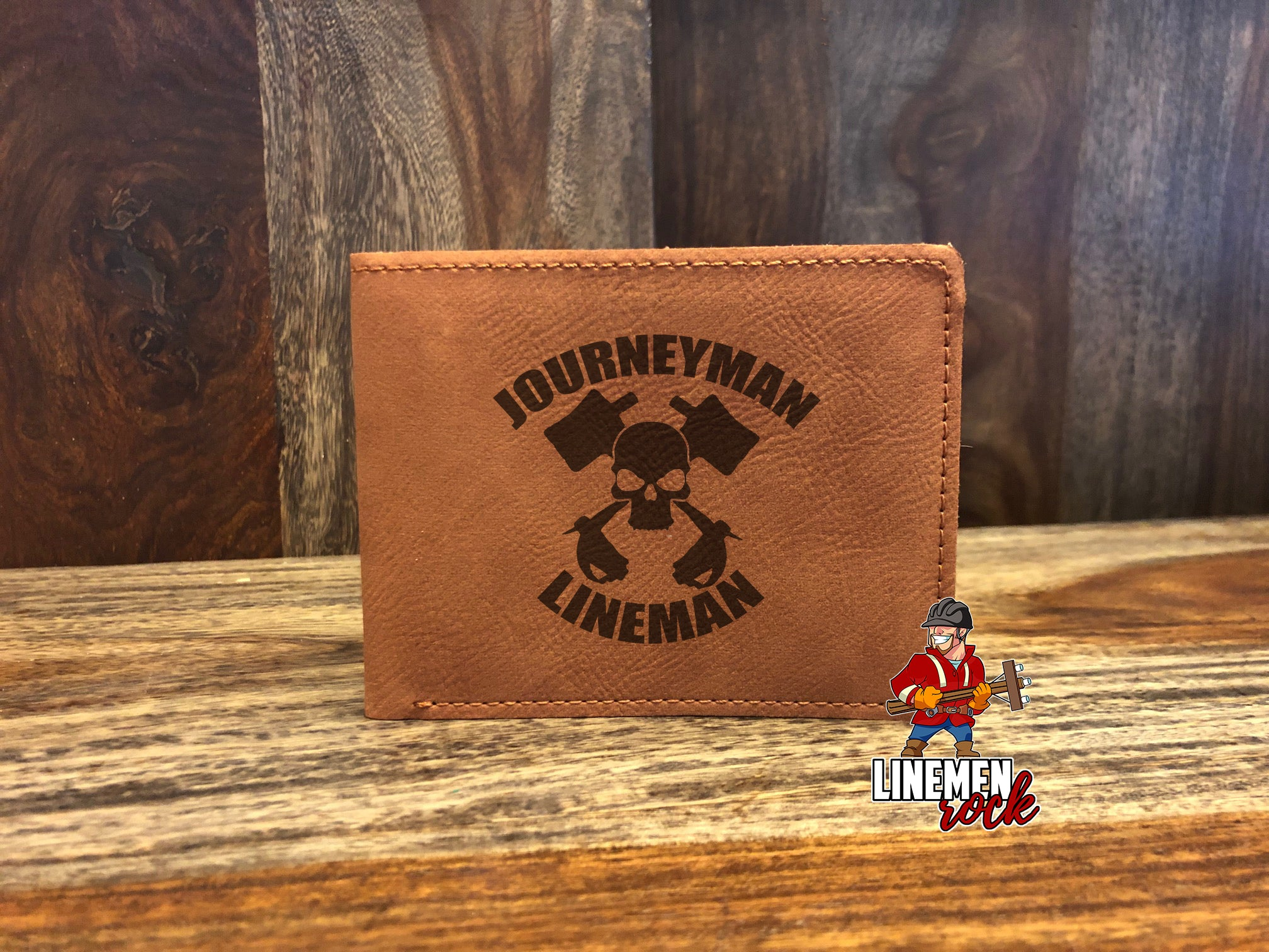 Journeyman Lineman Skull Crossed Hooks Wallet