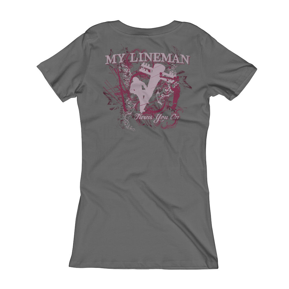 My Lineman Turns You On Women's V-Neck T-shirt - Linemen Rock - Lineman Shirts