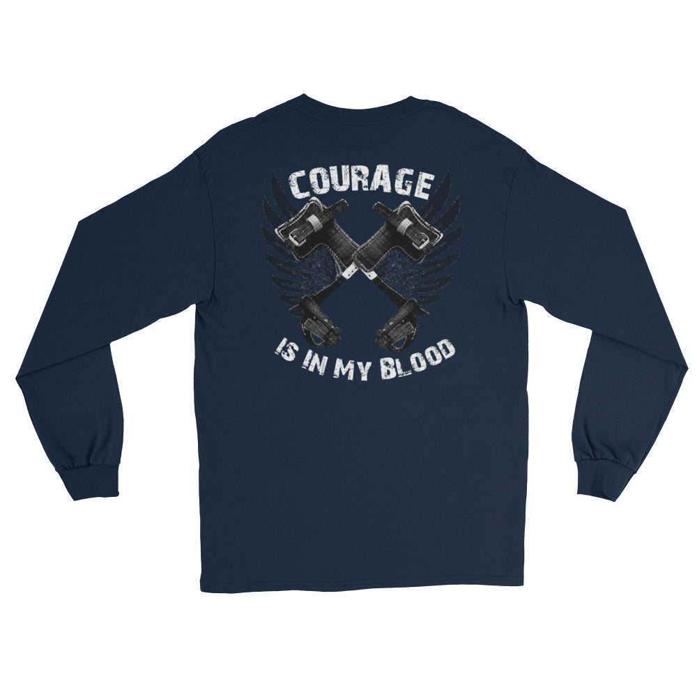 Courage Is In My Blood Long Sleeve T-Shirt - Linemen Rock - Lineman Shirts