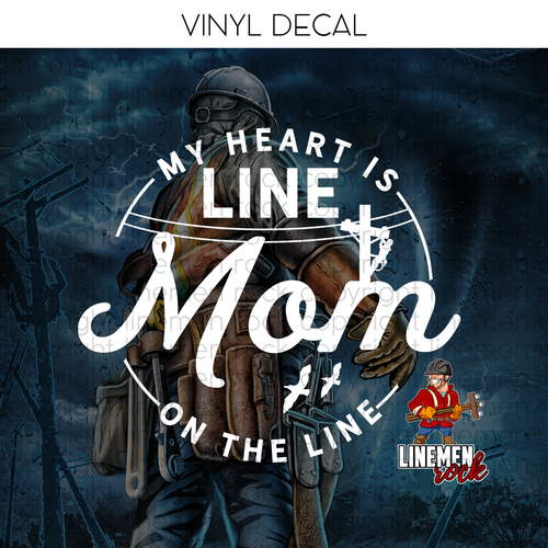 My Heart is On The Line Mom Decal