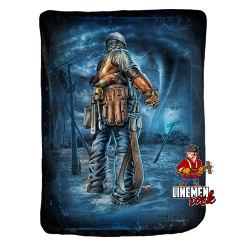 Stand in The Storm Minky Blanket - Linemen Rock - Lineman Shirts