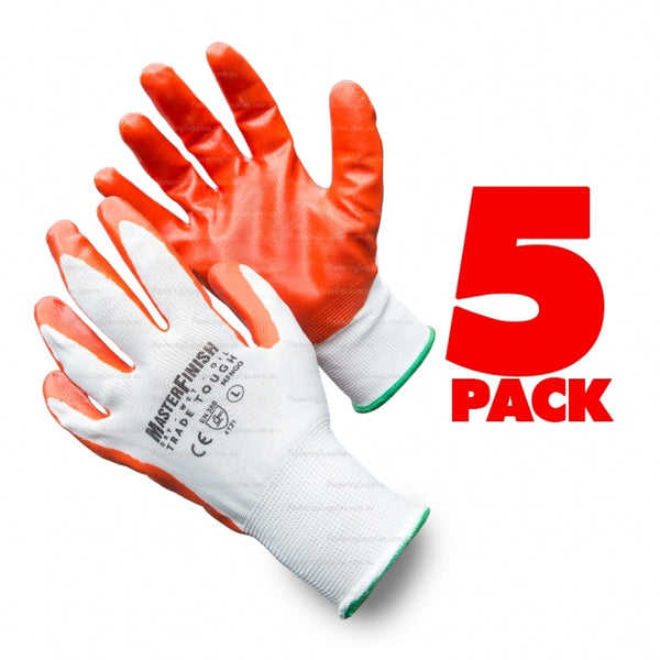 SIZE 9 MasterFinish 5 Pack Trade Tough Contractors Gloves Nitrile Coated MFNGO-5