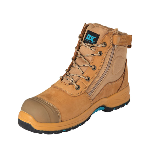 Size 8 OX Tools Nubuck Zipper Trade Work Boots Steel End Toe Cap