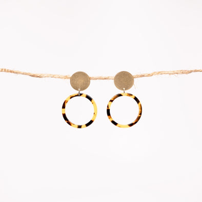 Tortoise Hoops with Brass Charms - YSRA Supply