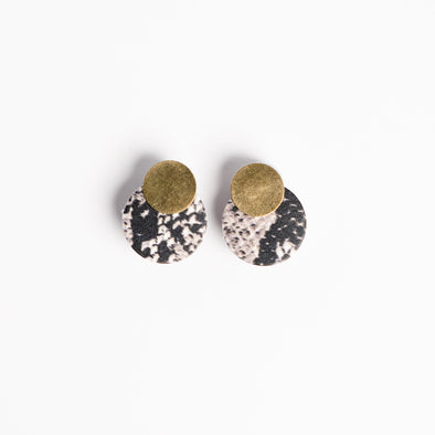Small Round Brass Combo Earrings - YSRA Supply