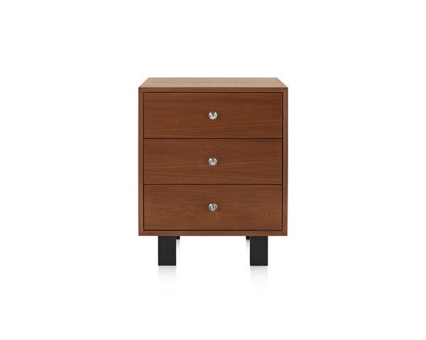 Light Brown Walnut, 3 drawers, wooden legs