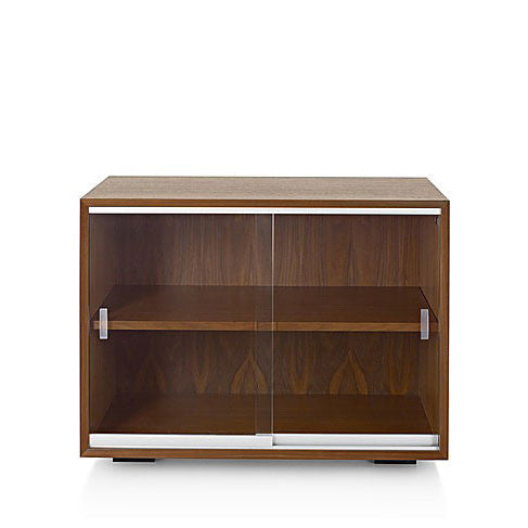 "Herman Miller Nelson Basic Bookcase Cabinet Series, 24"" high x 34"" wide Bookcase with Sliding Glass Doors"