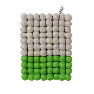 Aveva Wool Trivets - Rectangular Green Dip 1041