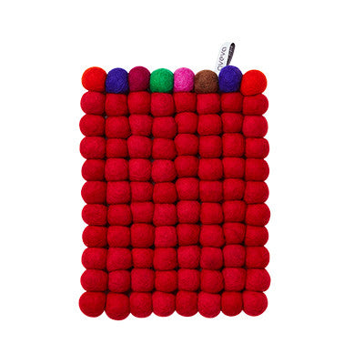 Aveva Wool Trivets - Rectangular Red Multi 1048