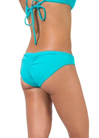 drawstring shirred bikini bottom turquoise blue green