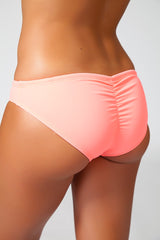 drawstring shirred bikini bottom coral