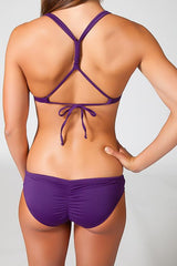 drawstring shirred bikini bottom eggplant purple royal
