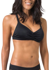 ruched bikini top black swimwear active surf
