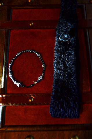 "Men's smart-wear  Set Black Cashmere Tie and hematite bracelet, ""He-Man Matrix"" wearable-tech for Charity."