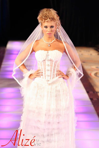 NFC Enabled 2-Piece White Bridal Couture Dress (Avant-Garde)