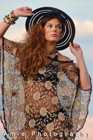 Beach Cover-up with Metal Magnetic Embellishments.