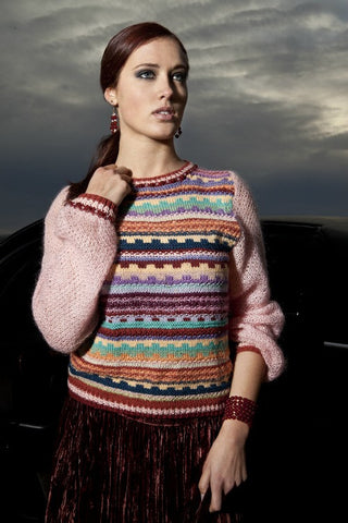 Fine Wool and Cashmere handknit Sweater with Gem-stone Embellishments