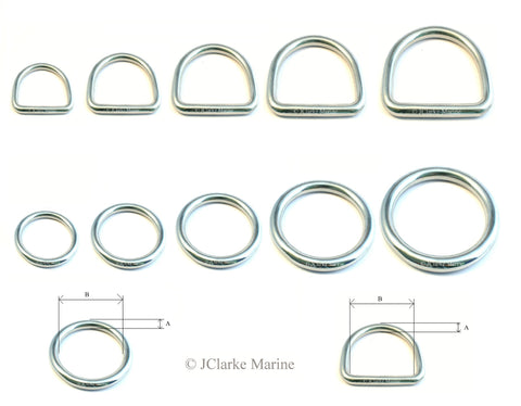 Stainless steel 316 A4 marine grade O and Dee rings ring welded smooth