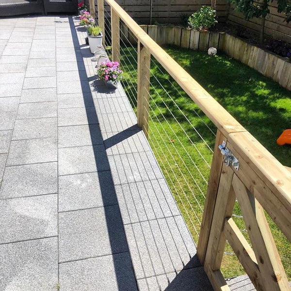 Wire balustrade stainless steel wire clamp decking patio area