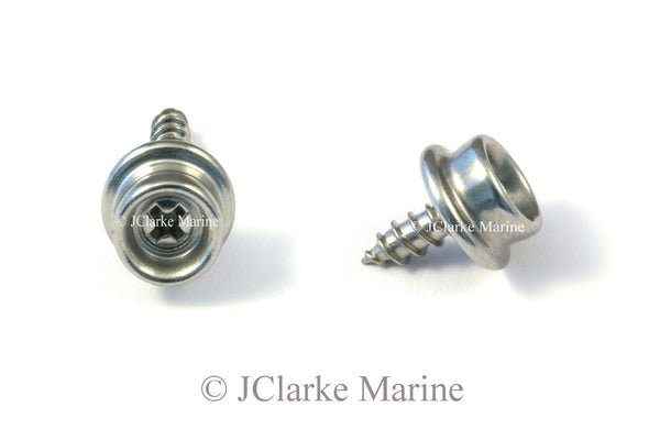 Snap fastener screw stud short thread