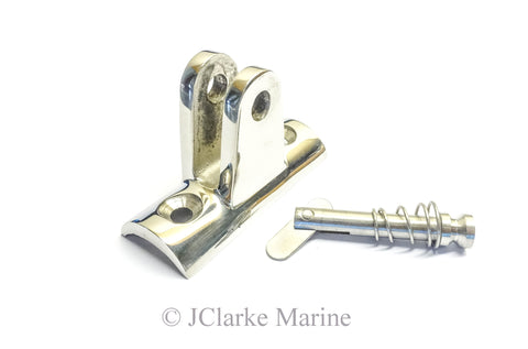 Concave bimini fitting with quick release spring pin