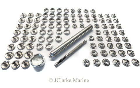 Snap fastener kit 316 A4 stainless steel canvas to canvas