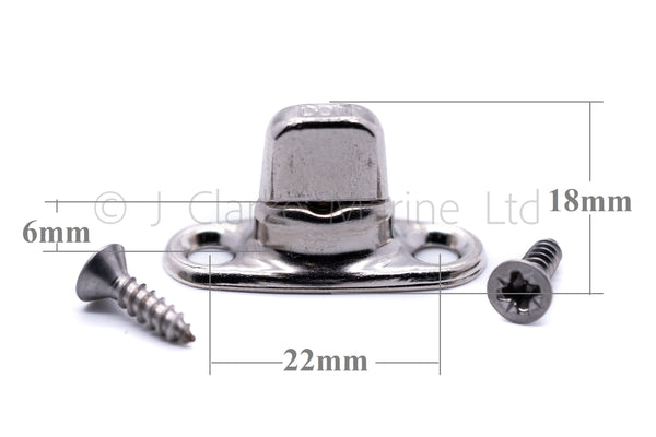 Complete turnbutton set 6mm base with screws (eyelet, washer, base and screws)