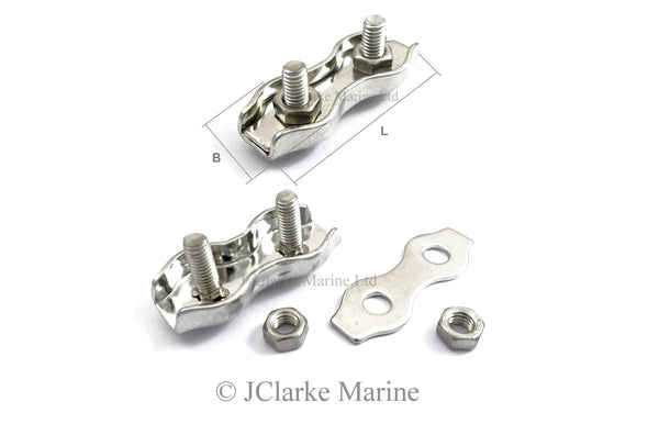 Stainless steel duplex wire rope clamp grip 316 a4 marine grade