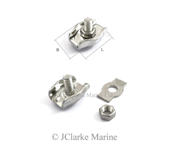 Stainless steel simplex wire rope clamp grip a4 316 marine grade
