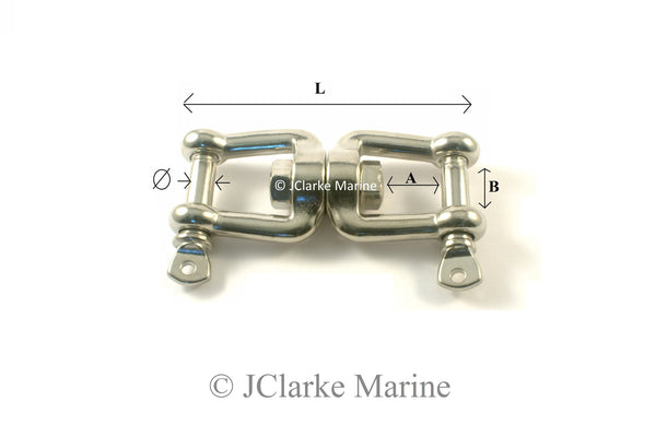 8mm Jaw and jaw swivel shackle