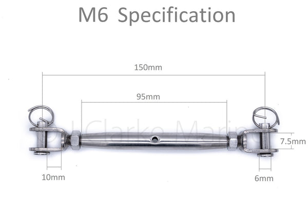 316 A4 marine grade stainless steel closed body turnbuckle rigging screws M5 M6 M8 5mm 6mm 8mm