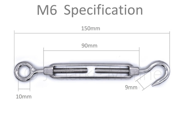 316 A4 marine grade stainless steel hook to eye turnbuckle rigging screws M5 M6 M8 5mm 6mm 8mm